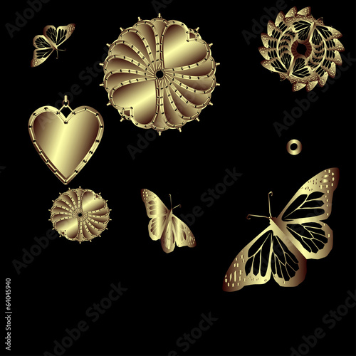 Set of decorative gold butterflies and hearts