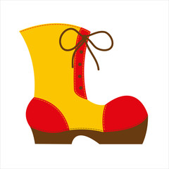 red yellow big shoe with brown high sole and significant seams