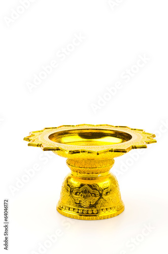 Gold tray isolated white background