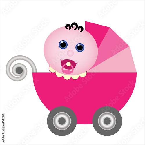 baby girl with dummy in vintage pink stroller