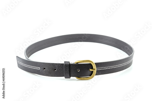 Black leather belt isolated white background