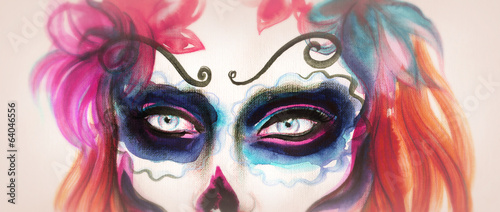 Dead Woman with Sugar Skull Face.  fashion illustration
