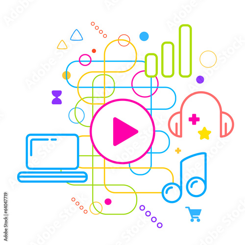 Symbols of listening to music on the computer on abstract colorf