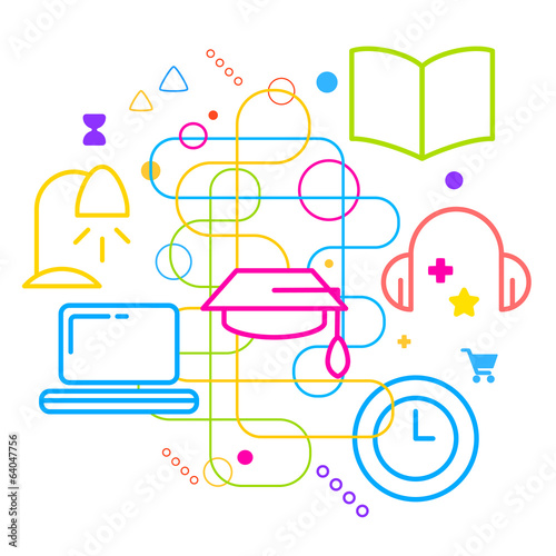 Symbols of education on abstract colorful light background with