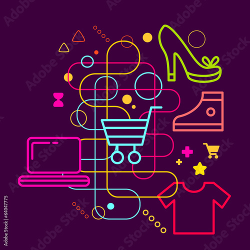 Symbols of shopping on abstract colorful dark background with di