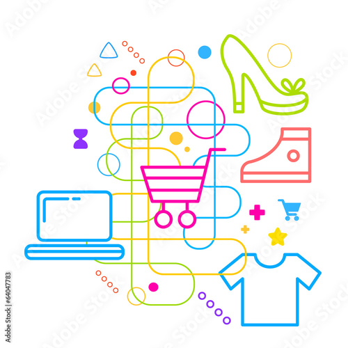 Symbols of shopping on abstract colorful light background with d