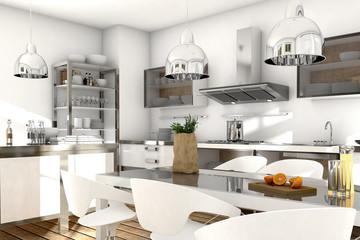 Küche mit Edelstahl und Glaselementen