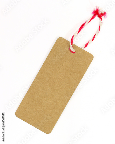 Brown blank tag on white background