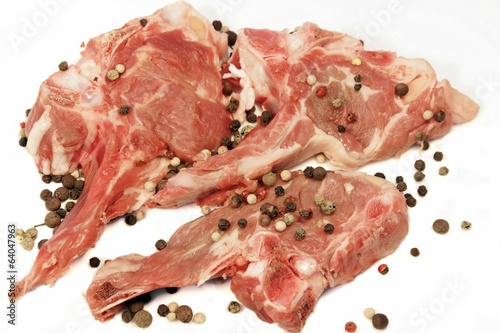 Raw Lamb Chops on White Background, XXXL
