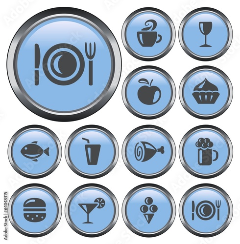 Food and drinks button set