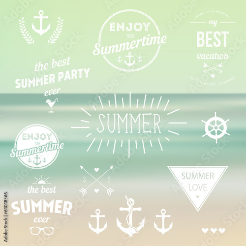Retro elements for Summer Vintage labels