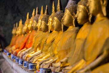 Golden Buddha statues in the temple