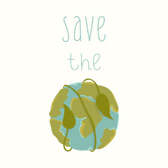 Earth day card template. Vector postcard layout. Save the Earth