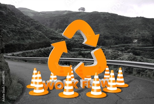 workflow symbol on a road