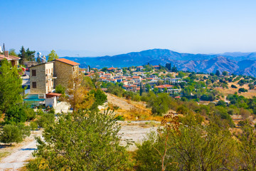 Lefkara village in mountain valley of Cyprus island