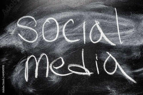 Handwritten message on chalkboard writing message Social media