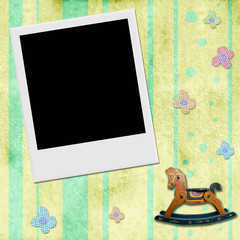 Instant photo frame in chid background