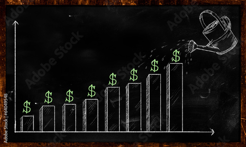 Growing Dollar Sketch on Blackboard