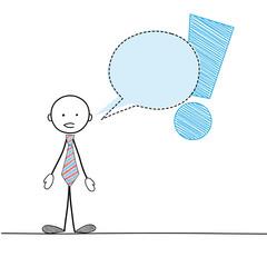 STICKMAN GIVING INFORMATION / WARNING (speech bubble balloon)