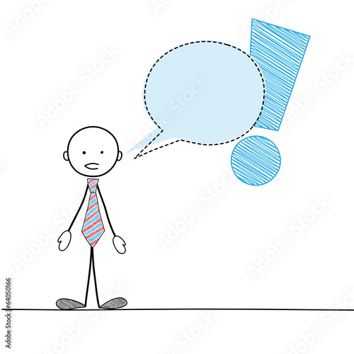 STICKMAN GIVING INFORMATION / WARNING (speech bubble balloon)