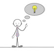 STICKMAN HAS A BRIGHT IDEA (brainstorming innovation creativity)