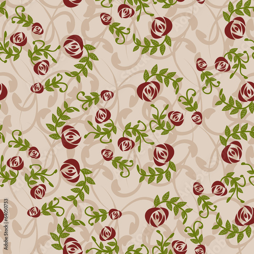 Vintage background with roses - Illustration