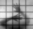 Imprisoned, behind bars - struggle to escape concept, metaphor