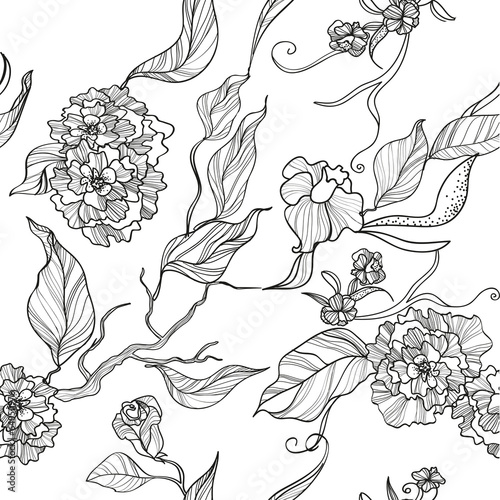 seamless floral background with flowers and leaves