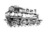old steam locomotive engine retro vintage - 64051314