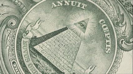 One dollar bill, close up, rotate. Macro.