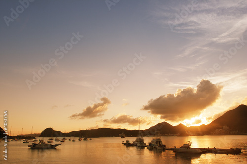 Asian bay at twilight