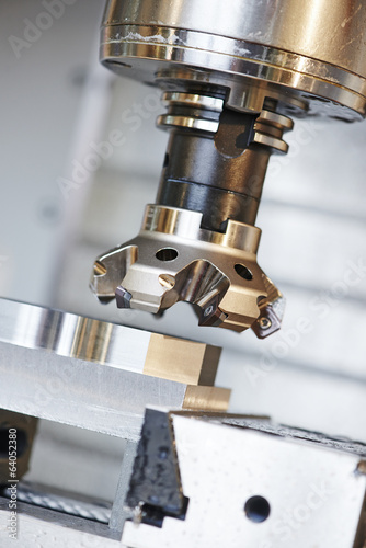 Leinwanddruck Bild process of metal machining by mill