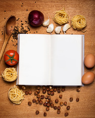 Kitchen. Cooking book and food