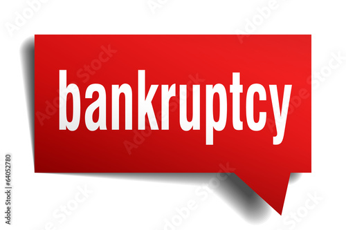 Bankruptcy red 3d realistic paper speech bubble