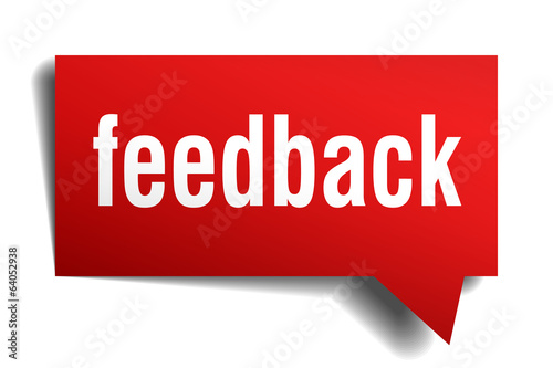 Feedback red 3d realistic paper speech bubble isolated on white