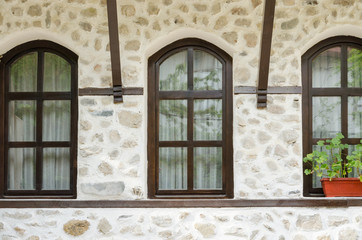 Old stone wall and window, Melnik, Bulgaria