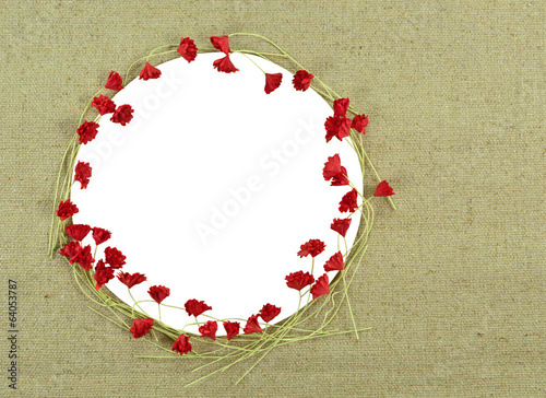 Round frame with red flowers