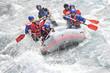 Rafting, splashing the white water - 64053926