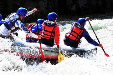 High contrast shot of White water rafting