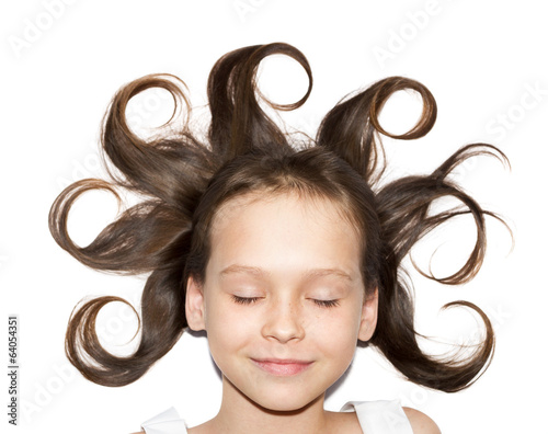 Little girl with funny hairstyle