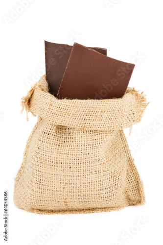 the linen sac with the sticks of chocolate