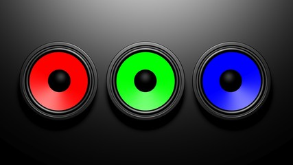 Three colorful speakers on black background