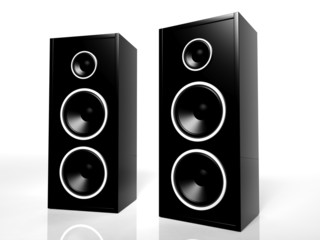 Two black speakers isolated on white background