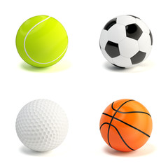 Sport balls on white. Soccer, tennis, golf, basket balls