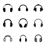 Vector black headphone icons set