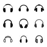 Vector black headphone icons set