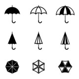 Vector black umbrella icons set - 64054992