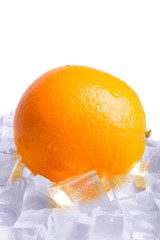 Ice cubes and orange isolated on white background