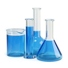 Test-tubes isolated. Laboratory glassware with blue liquid