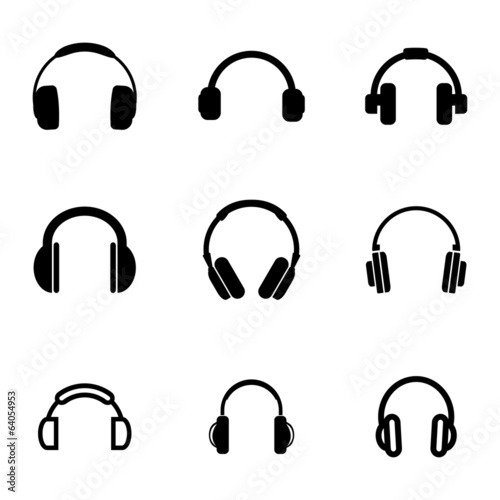 Vector black headphone icons set - 64054953